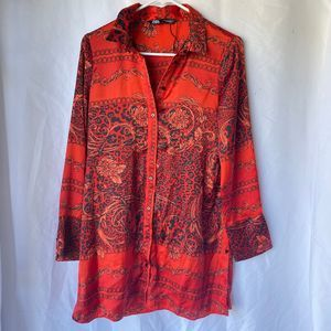 Zara small red blouse floral print longe sleeve